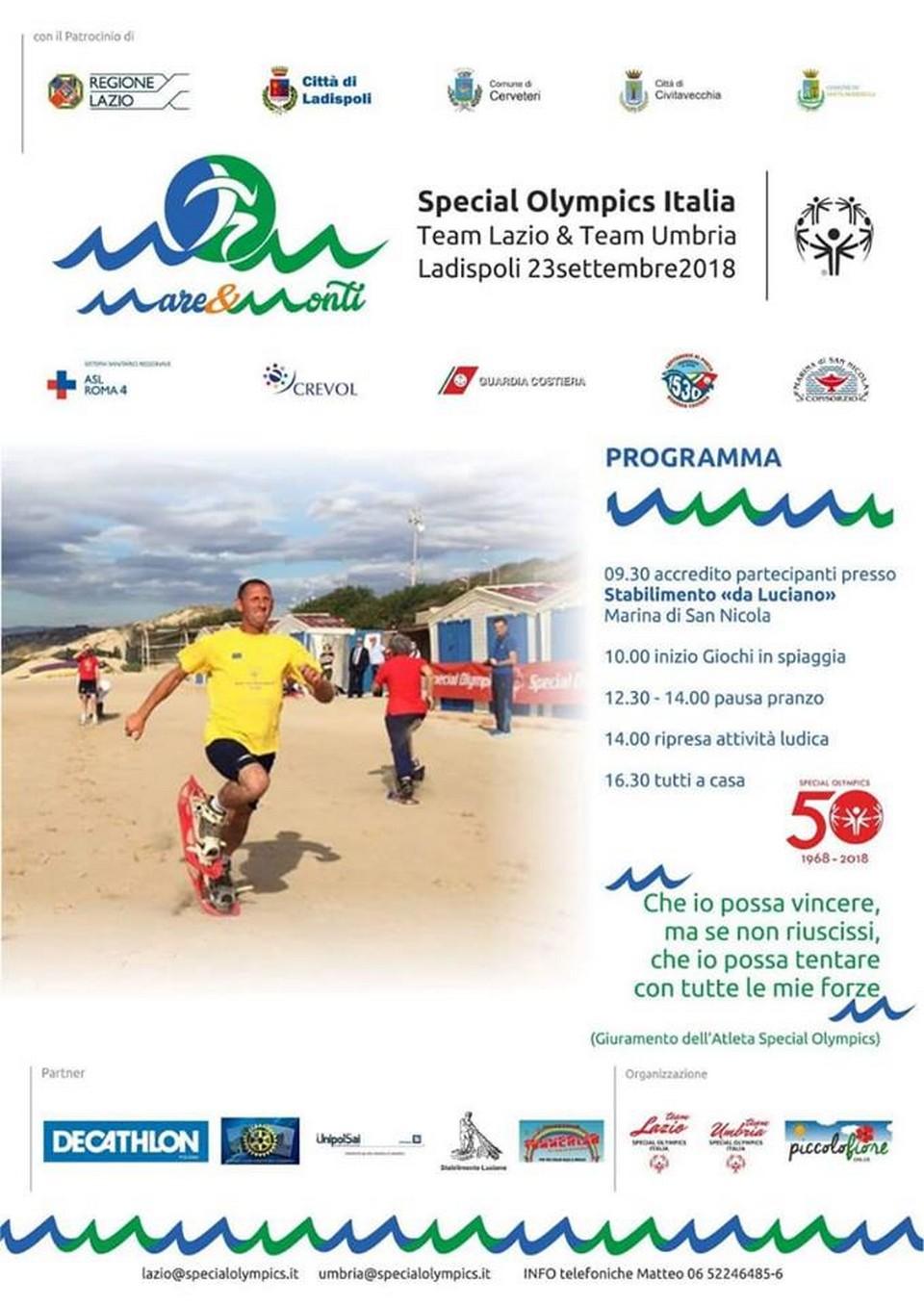 """Special Olympics fa tappa a Marina di San Nicola con """"Mare e Monti"""""""